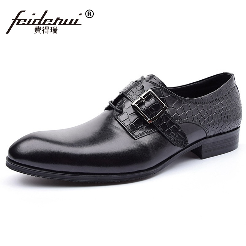 Luxury Brand Crocodile Man Monk Shoes Genuine Leather Wedding Business Oxfords Formal Dress Round Toe Men's Bridal Flats AD39 hot sale italian style men s flats shoes luxury brand business dress crocodile embossed genuine leather wedding oxford shoes