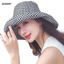 2018 Summer Women Plaid Sun Hat Female Big Wide Brim Cotton Anti-UV Beach Floppy Hats Flat Caps Bob Chapeau Gorras