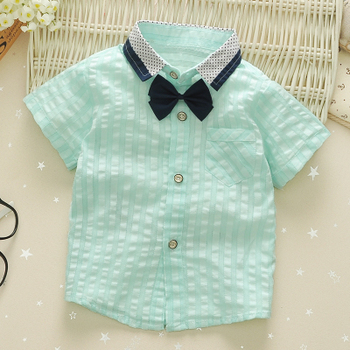 1-4y infants shirts thin children fashion 100% cotton turn-down collar with bow baby boys shirt kids top tees vetements garcons  2