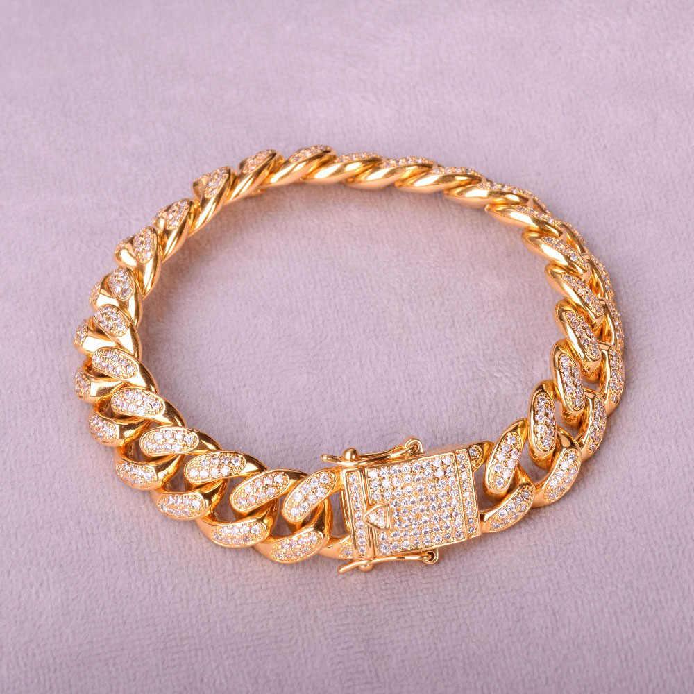 """12 MILLIMETRI Uomini Zircone Curb Cuban Link Bracciale Hip hop Gioielli In Oro Argento di Spessore di Rame Pesante Materiale Ghiacciato CZ Catena braccialetto 8"""""""