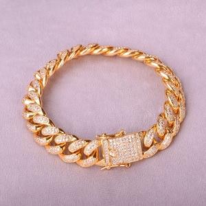 "Image 4 - 12MM Men Zircon Curb Cuban Link Bracelet Hip hop Jewelry Gold Color Thick Heavy Copper Material Iced CZ Chain Bracelet 8"""
