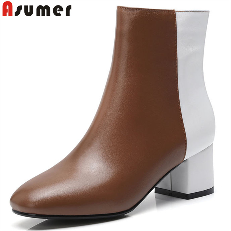 ASUMER 2018 fashion new shoes woman square toe ankle boots mixed colors genuine leather boots zip thick high heels boots printing new boots 2015 autumn winter genuine leather mixed colors thick with pointed toe woman boots stylish comfortable shoes