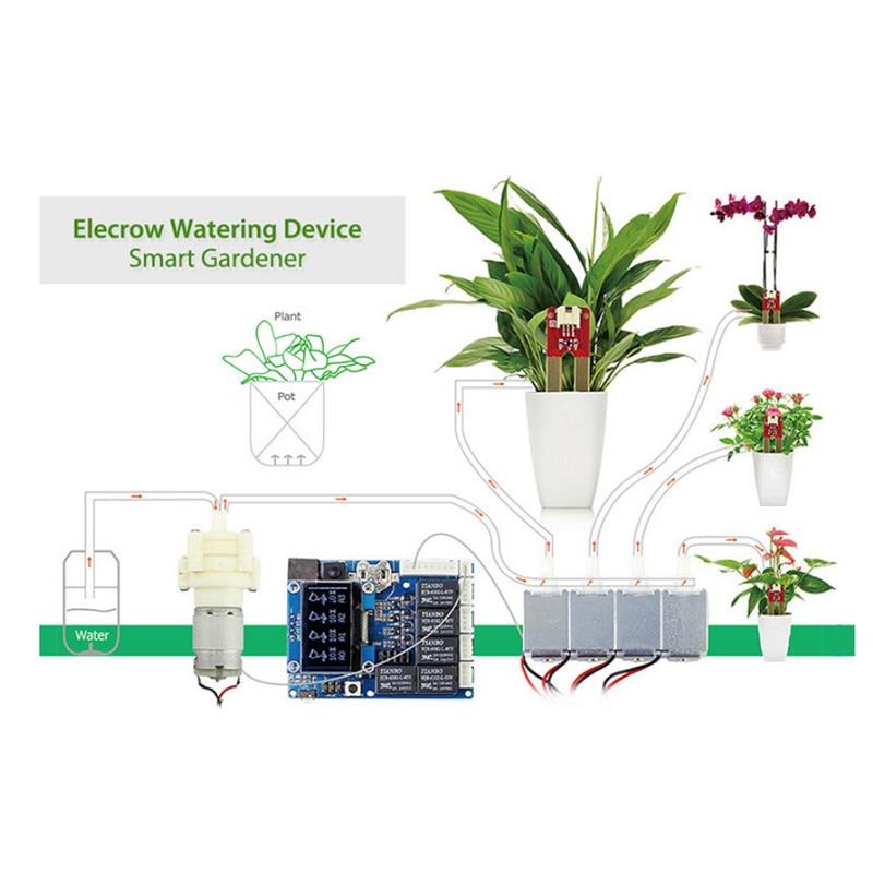 Elecrow Automatique Intelligent Arrosage Des Plantes Kit pour Arduino Jardin Arrosage Kits Électroniques BRICOLAGE Maison Pompe À Eau Capteur D'humidité Du Sol
