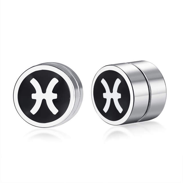 56cc424f26142 US $3.32 |Men's Pisces Magnetic Stud Earrings for Men Boy Twelve  constellations Rounded Ear Clip Studs Earing Non Piercing Male Jewelry-in  Stud ...