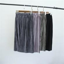 High Quality Large Size Women's Skirt Faldas Autumn And Winter New Pleated Velvet Elastic Waist Elegant Skirts Saia
