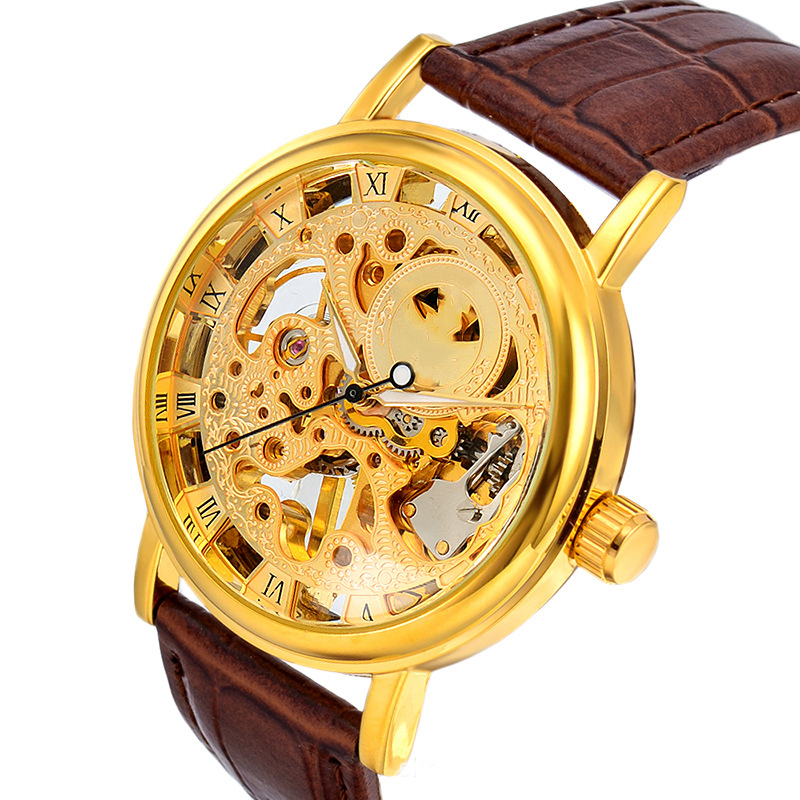 Automatic Self Wind Wristwatch Man Mechanical Skeleton Military Sport Watch Leather Gift 2017 New Fashion Male Clock LZ346 2015 new fashion brand pu leather strap men automatic mechanical watch skeleton self wind watch for man dress casual wristwatch