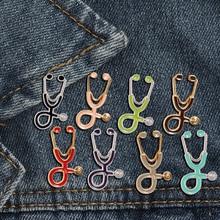 Креативные разноцветные броши, 18 стилей, стетоскоп доктора медсестры, эмалированные булавки, медицинские джинсовые куртки, сумки, ювелирные изделия, значки, подарки