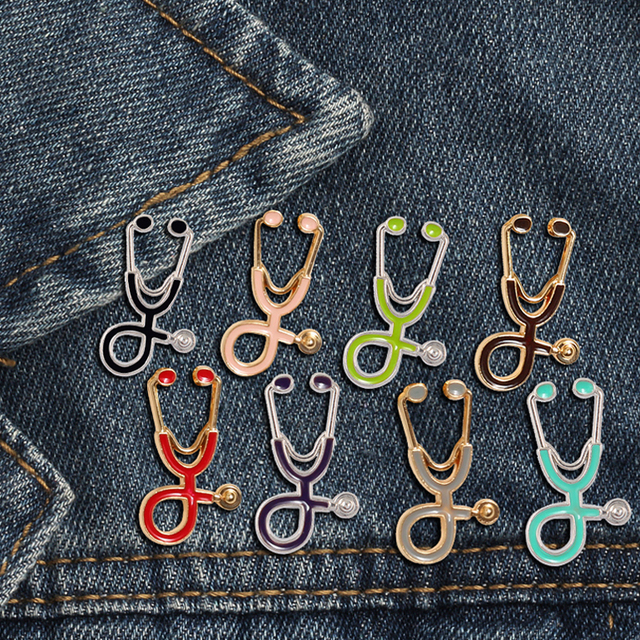 Colorful Brooches Doctor Nurse Stethoscope enamel Pins Medical Denim Jackets bag Jewelry