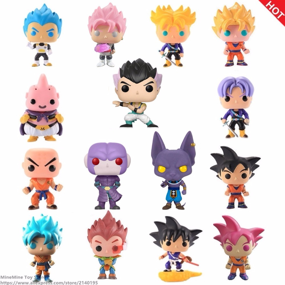 ZXZ Anime Dragon Ball Z Super Saiyan Pop Beerus Hit Vegeta Gohan Doll Action Figures Dragonball Figurine Collection Model Toys pop figurine collection toy figure model doll