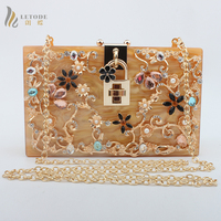 Famous Brand Travel Purse Acrylic Flower Handbag Evening Tote Clutch Wallet Womens Party Day Clutches Shoulder