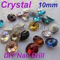 10 mm 10 pçs/lote Rivoli rodada Pointback pedrinhas Strass cristal brilhante contas cores para escolher DIY acessórios do telefone