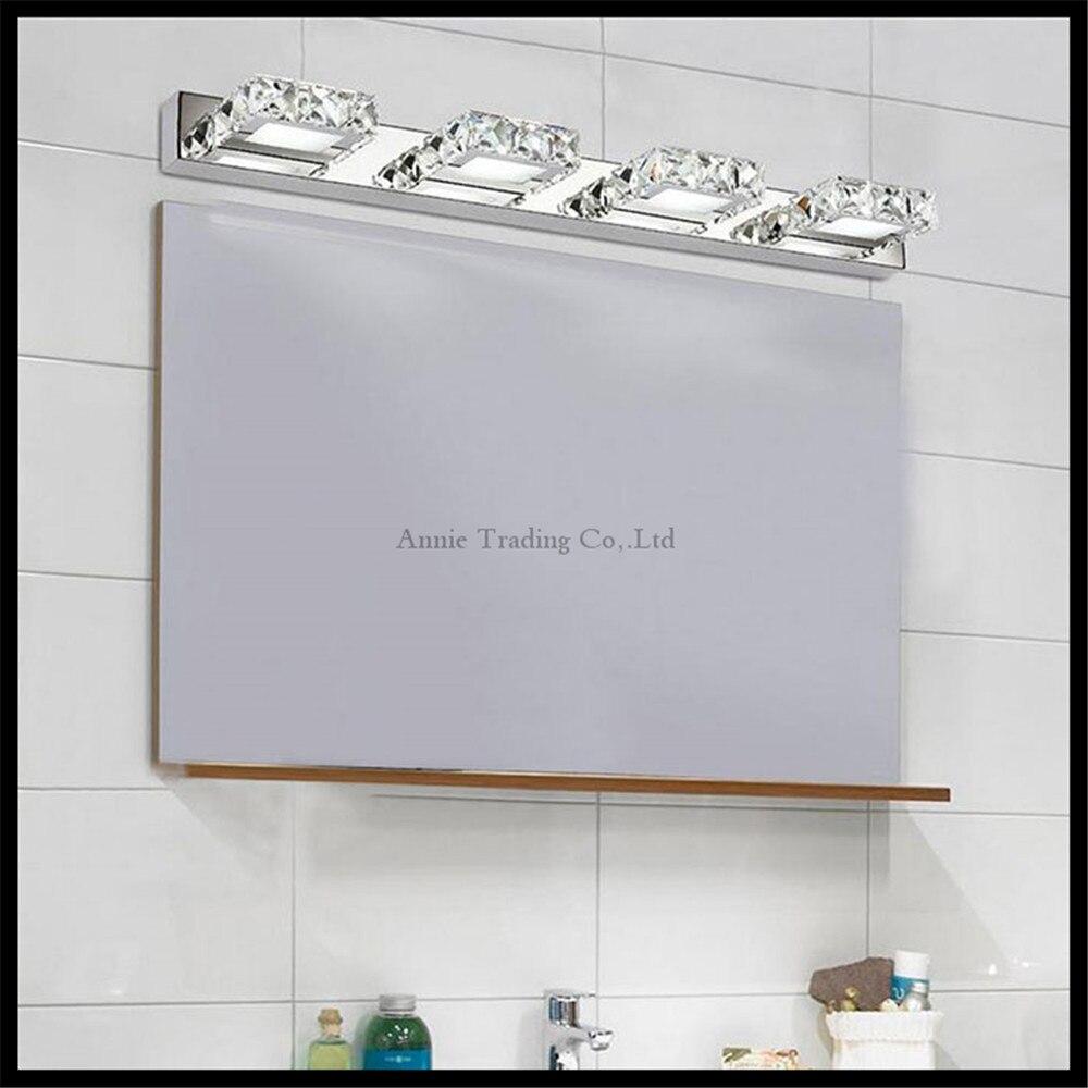 Crystal ledmirror light bubble crystal stainless steel bathroom mirror - 110 220v L16cm 32cm 46cm 62cm Modern Minimalist Led Crystal Stainless Steel Mirror Front Lamp Bathroom Vanity Toilet Wall Lights