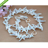 New Arriver Natural 8 50mm White Cross Baroque Keshi Reborn Pearl Necklace Fashion Woman' s Pearl Jewellery