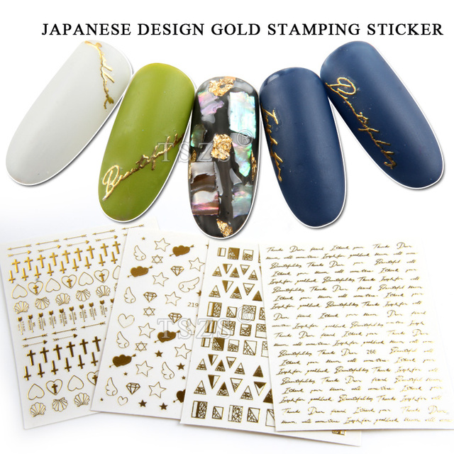 1bag/lot Nail Art Gold Stamping Decal Stickers Cross Shell Star Arrow Love Letter Heart Angel Wings