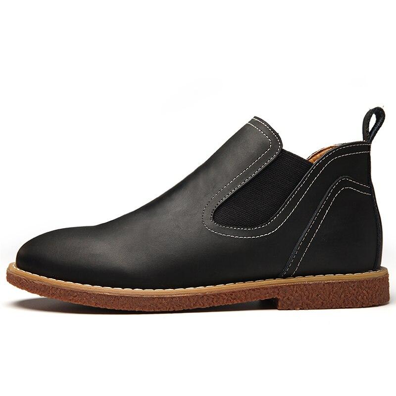 black Hommes Chaussures Masculina Vintage En Bottes Style Top dark Marque Brown Chelsea Nouveau Cuir Green Pour Qualité 2018 Bota trdxoCshQB