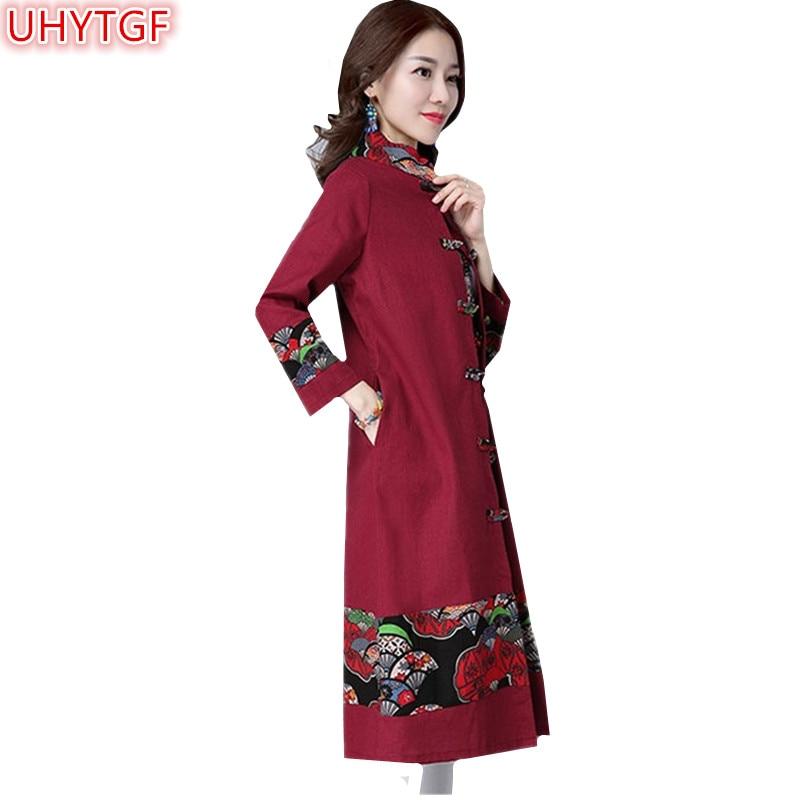 UHYTGF Autumn   Trench   Coat For Women Clothing folk-custom Windbreaker Long Coat Women Vintage Plate print Loose Ladies Coats 116