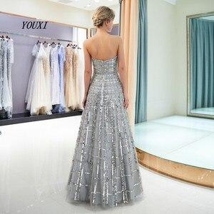 Image 2 - Luxe Bling Bling argent robes de bal 2019 a ligne sans bretelles nouveau formel longues robes de soirée vestidos de graduacion