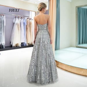 Image 2 - Luxury Bling Bling Sliver Prom Dresses 2020 A Line Strapless New Formal Long Evening Gowns vestidos de graduacion