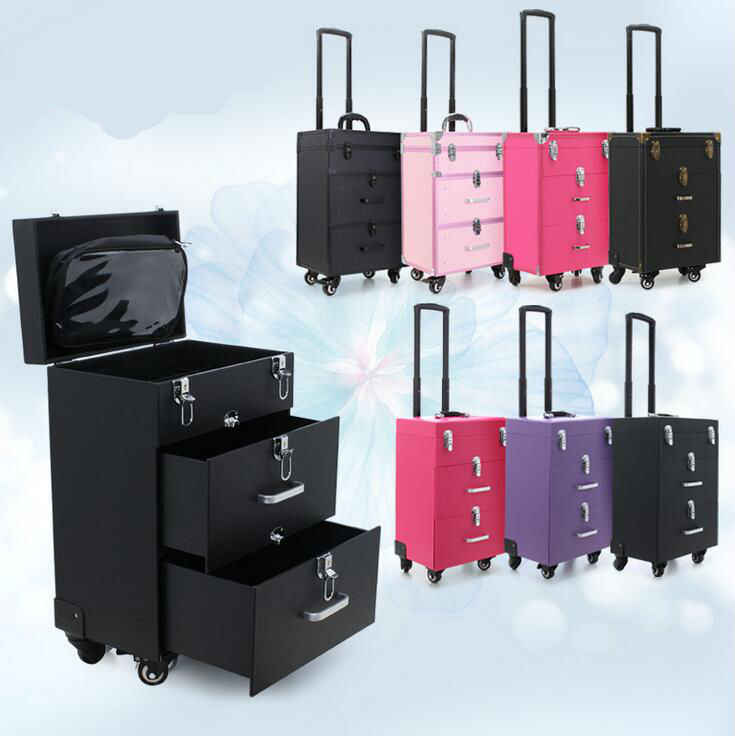 2017 7 Types Hot professional makeup Nail Box for Travel cases tool bag Trolley caster Kit cosmetics case Luggage large capacity