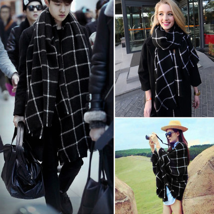 Autumn winter Tartan scarf black white plaid scarf woman all-match cozy Wool Shawl ladies Collar Double side 200cm*100cm