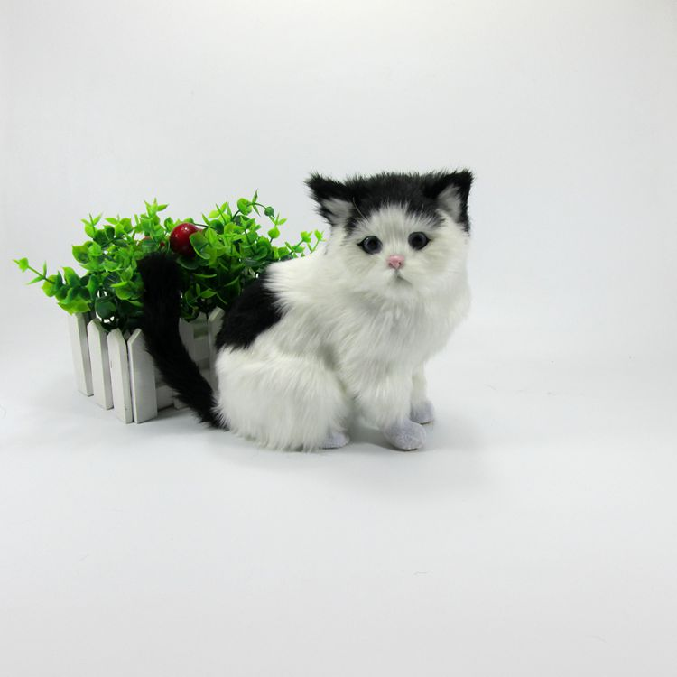 Toys & Hobbies Humble New Simulation Cat Toy Polyethylene & Furs Black&white Cat Doll Gift About 18x13x11cm 2377