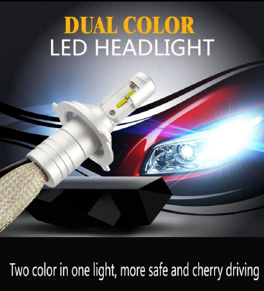 1 セット H8 H9 H11 60 ワット 8000LM デュアル色 S5 LED ヘッドライトルミ ZES チップファンレス送料スイッチ 3000 18K 6500 3000k ゴールデンイエローホワイト電球  グループ上の 自動車 &バイク からの 車のヘッドライトの球 (LED) の中 2