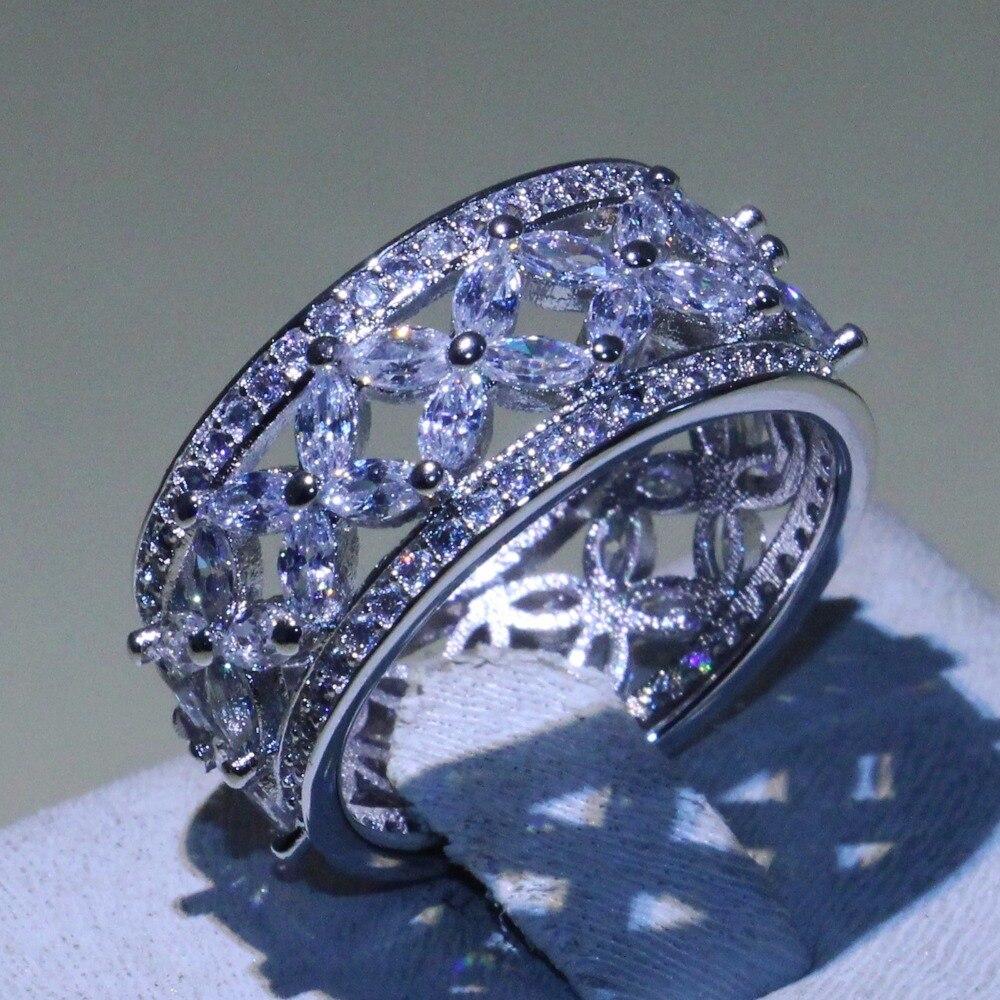 Classique Mousseux Bijoux De Mode 925 En Argent Sterling Marquise AAA Cubique Zircone CZ Eternity Engagement Bande Bague Fleur Cadeau