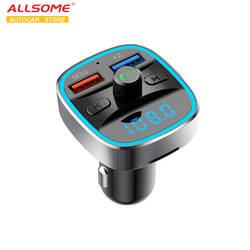 ALLSOME Bluetooth Quick Charge автомобиля зарядное устройство для смартфонов мобильный телефон громкой связи FM передатчик автомобильный комплект