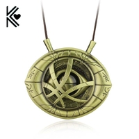 Doctor Strange Necklaces for Men Antique Bronze Big Eye Shape Pendant with Leather Cord steampunk Long Necklace Movie Jewelry