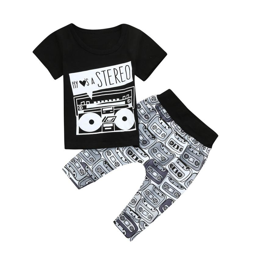 2018 Hot Sale Fashion Newborn Toddler Baby Letter Stereo Print T-shirt Tops+Pants Outfits Clothes Set Tracksuit 6.12
