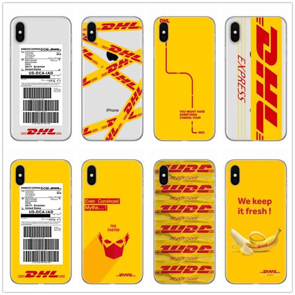 私たちはそれを維持新鮮なデザインの高級ロゴ DHL ラベルソフト TPU シリコーン電話ケース × SE 5 5 S 6 6 S-plus 7 8 プラス XS 最大 XR XS