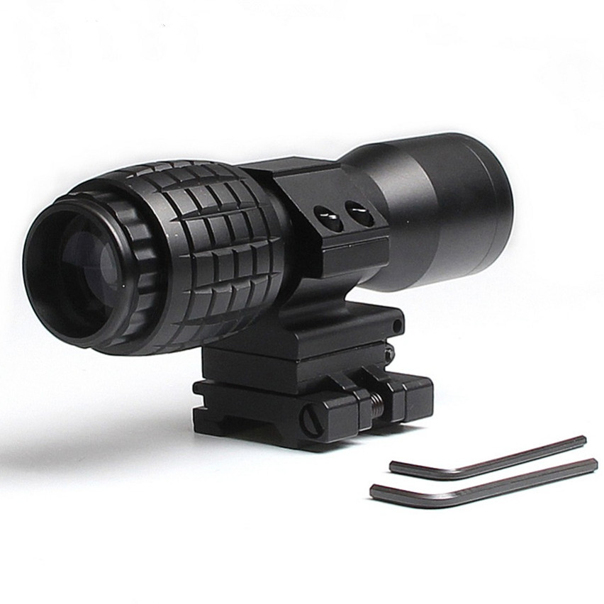 4X Magnifier Scope Sight Airsoft With Adjusted Mount Flip To Side FTS Monocular Fit For 551 552 For Hunting Shooting HT6-0060 free shipping 20mm rail tactical 4x magnifier quick flip scope w flip to side mount fit for holographic sight