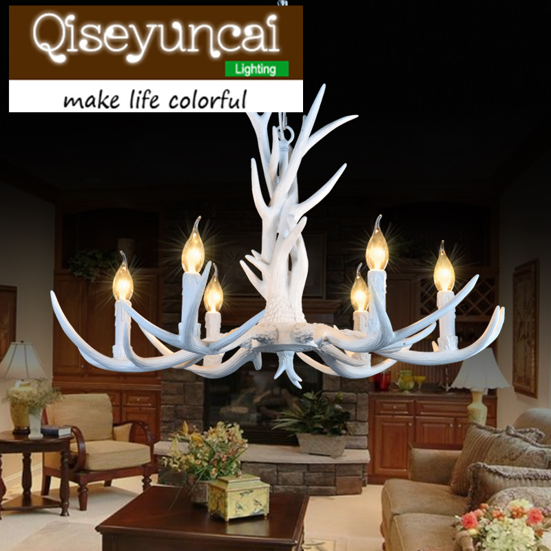 Qiseyuncai E14 110-220V 6 Heads American Deer Chandeliers Decoration Europe Country Style Retro Antler Pendant Lamp