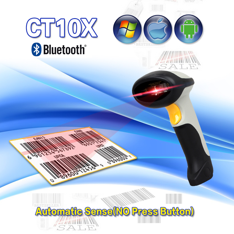 CT10X New Wireless Bluetooth 1D Barcode Scanner Mini Barcode reader for iOS, Android windows System bar scanner Free Shipping wireless barcode scanner bar code reader 2 4g 10m laser barcode scanner wireless wired for windows ce blueskysea free shipping