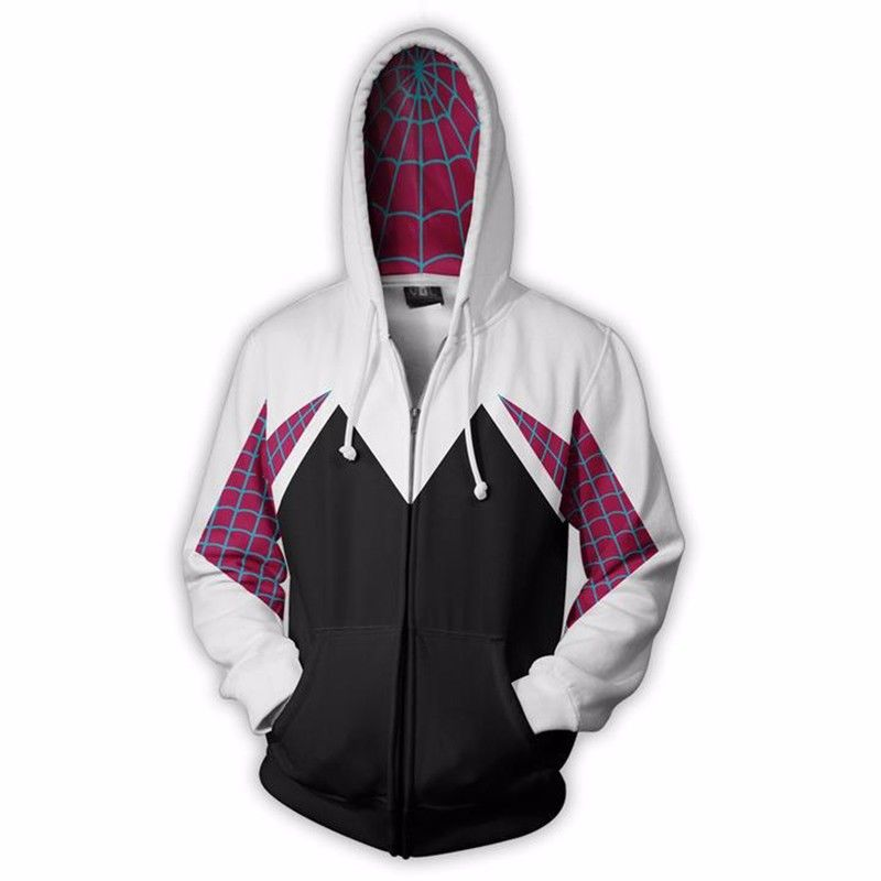 Spider Gwen Stacy Cosplay Costume 3D Zipper Jacket Coat Outfit Clothing Hoodies Sweatshirt Halloween Costumes