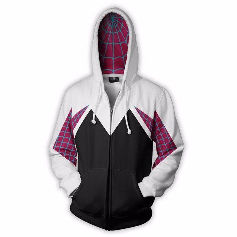 Spider Gwen Stacy Spiderman Cosplay Costume 3D Zipper Jacket Coat Outfit Clothing Hoodies Sweatshirt Halloween Costumes