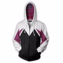 Spider Gwen Stacy Cosplay Costume 3D Zipper Jacket Coat Outf