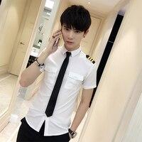 New Arrivals Mens Short Sleeve White Airline Pilot Uniforms Hair Stylist Fashion Slim Fit Black Workwear