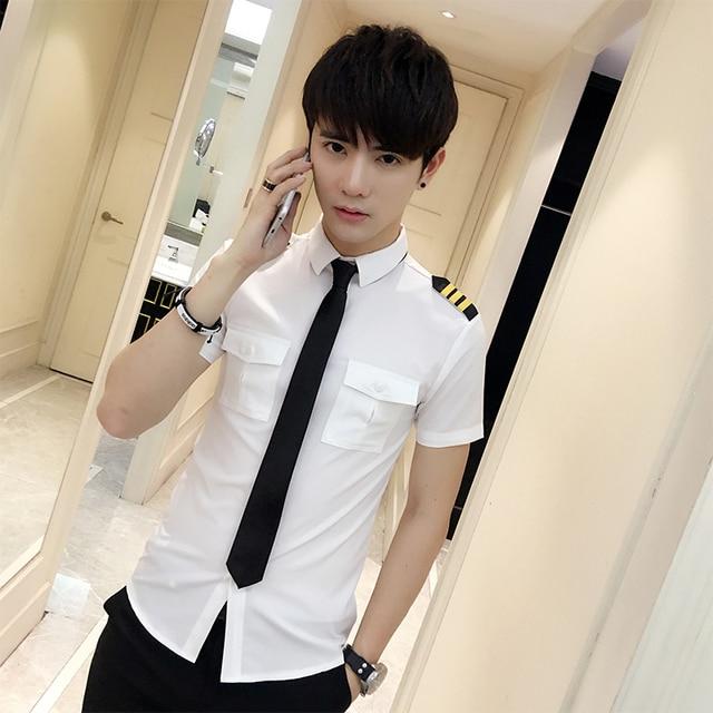 Nuevas llegadas hombres de manga corta blanco avión piloto uniformes de moda estilista de pelo Slim Fit negro ropa de trabajo talla grande ropa masculina