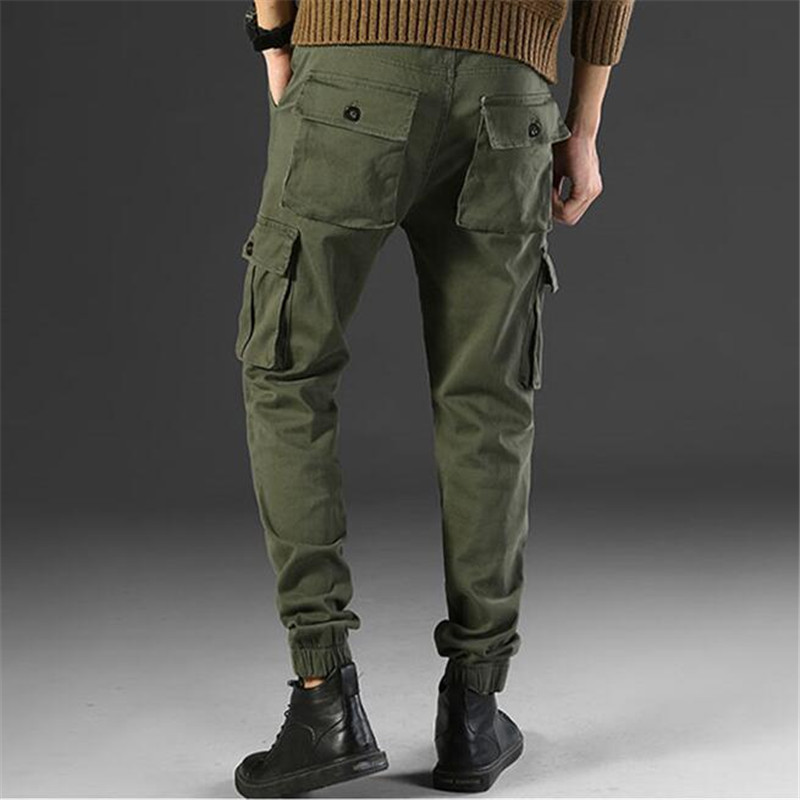 Male Casual Trousers Streetwear Joggers Jeans Men High Street Fashion Hip Hop Slim Cargo Jeans Denim Harem Army Green Pant