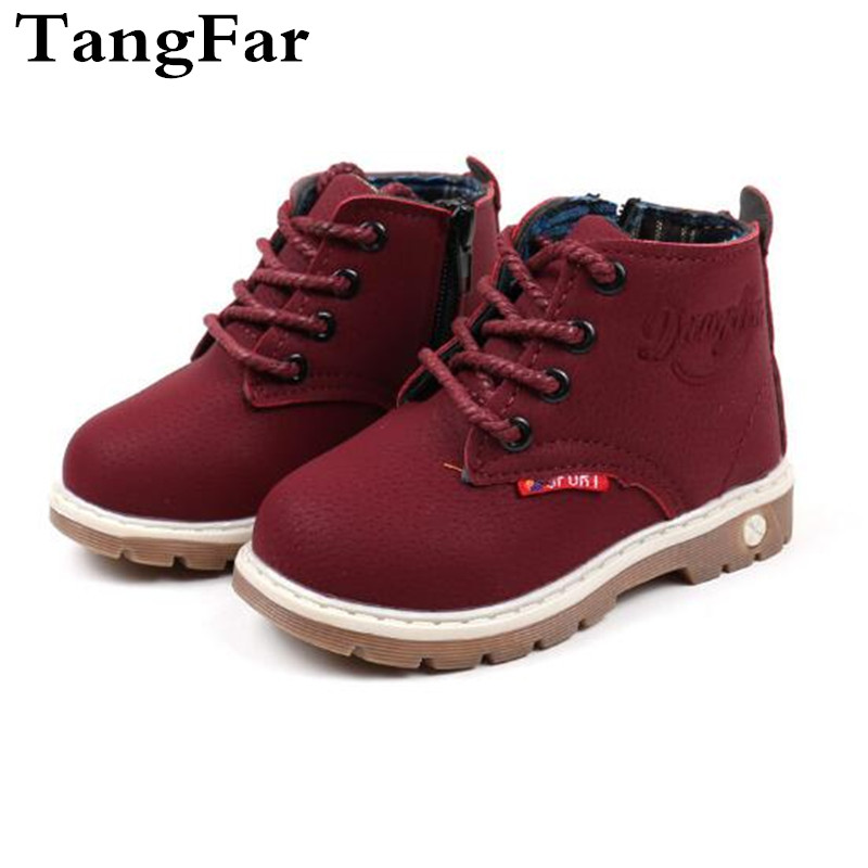 Kids Shoes Boys Leather Black  Boots Waterproof Children Ankle Boots Spring Toddler Motorcycle Boots Brand Girls Sneakers