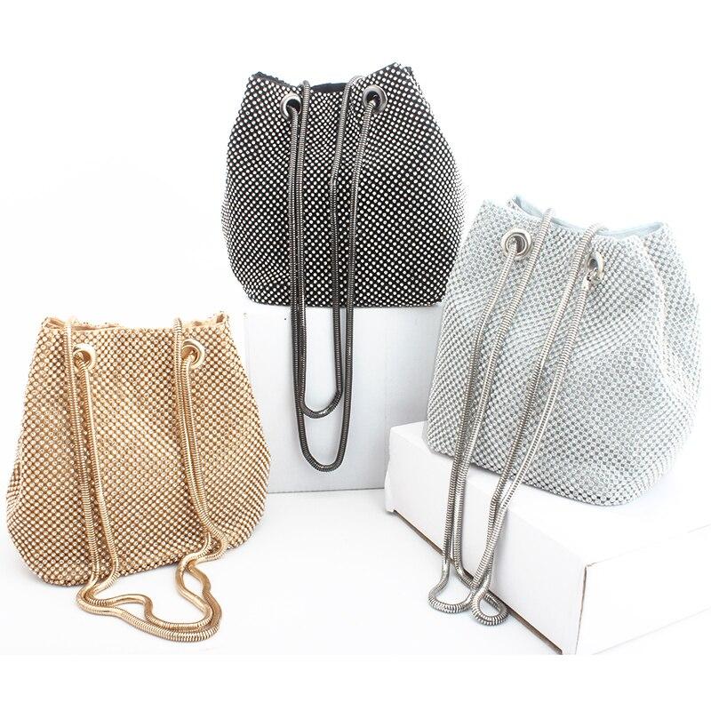 Bolso de noche bolso de lujo para mujer bolso de hombro bolsos de diamantes bolso de fiesta de boda de señora bolsa pequeña bolsa de satén bolsa femenina