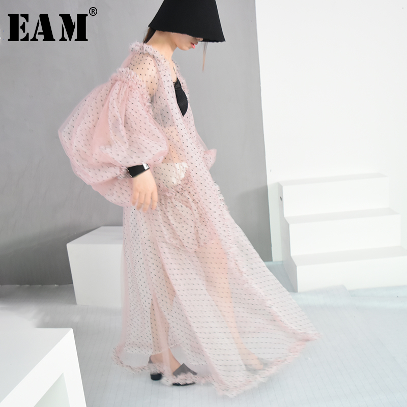 [EAM]2020 New Spring Summer V-collar Long Lantern Sleeve Dot Printed Perspective Big Size Long Shirt Women Blouse Fashion JF394