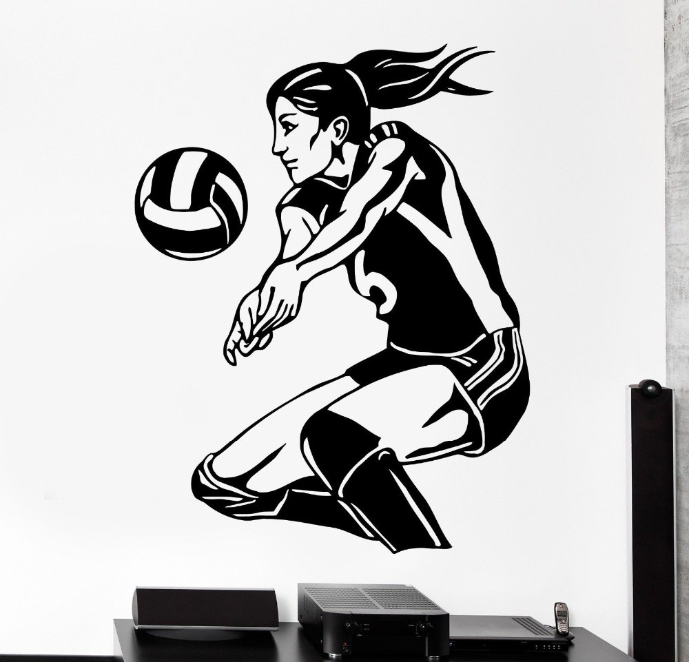Free-Shipping-Sports-Wall-Sticker-Women-Volleyball-Player-Beach-Woman-Girl-Female-Vinyl-Decal-Home-Decal