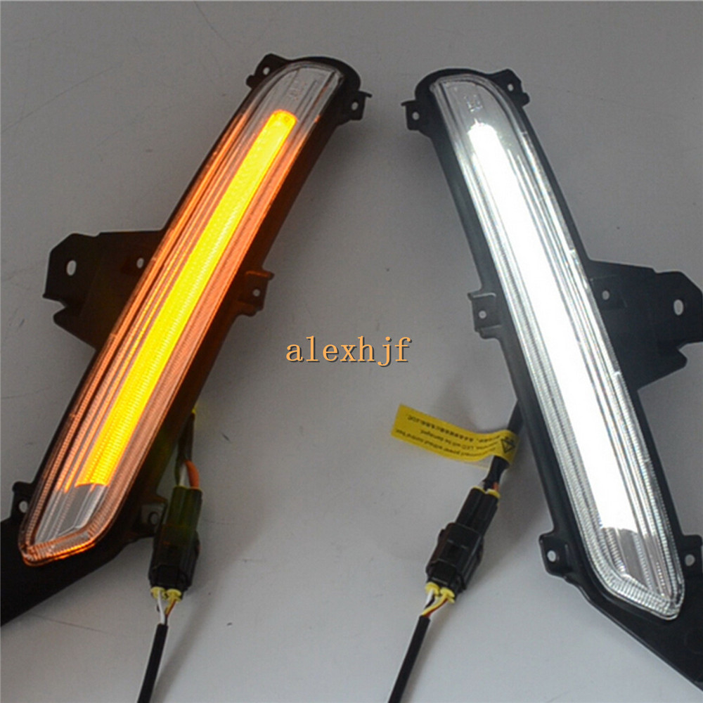 July King LED Light Guide Daytime Running Lights DRL Case for KIA K2 RIO 2015~ON, LED Fog Lamp With Yellow Turn Signal Light july king led light guide daytime running lights drl with fog lamp cover led fog lamp case for ford escort 2015 on 1 1 replace