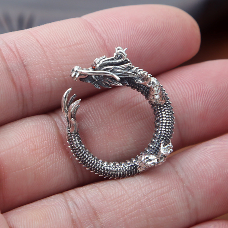 FNJ Dragon Ring 925 Silver Jewelry New Fashion Red Zircon S925 Sterling Silver Rings for Women