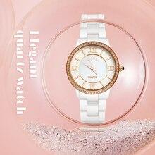 2019 senhoras Nova moda estudante branco cerâmica ultra-fino relógio de quartzo impermeável