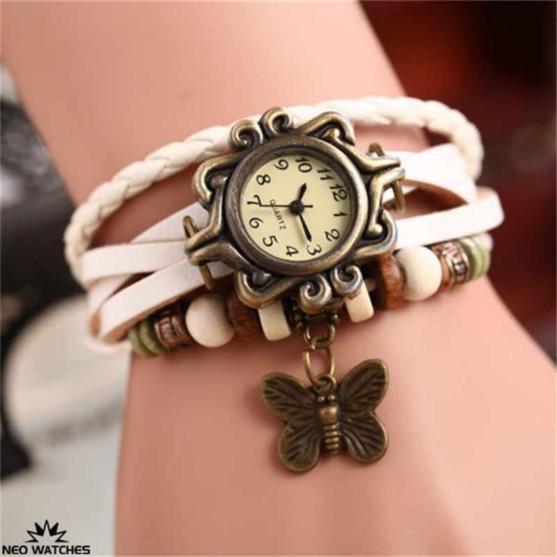 蝶腕時計時計女性のカジュアルヴィンテージレトロリベット編組ブレスレットレザーストラップレディー腕時計女性リロイ Mujer