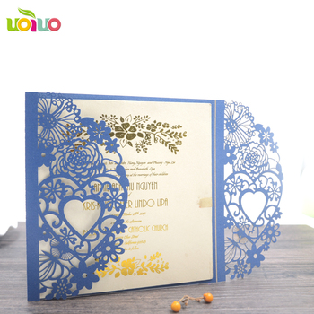 Heart folded wedding cards elegant laser cut christmas invitations handmade invitation greeting cards model