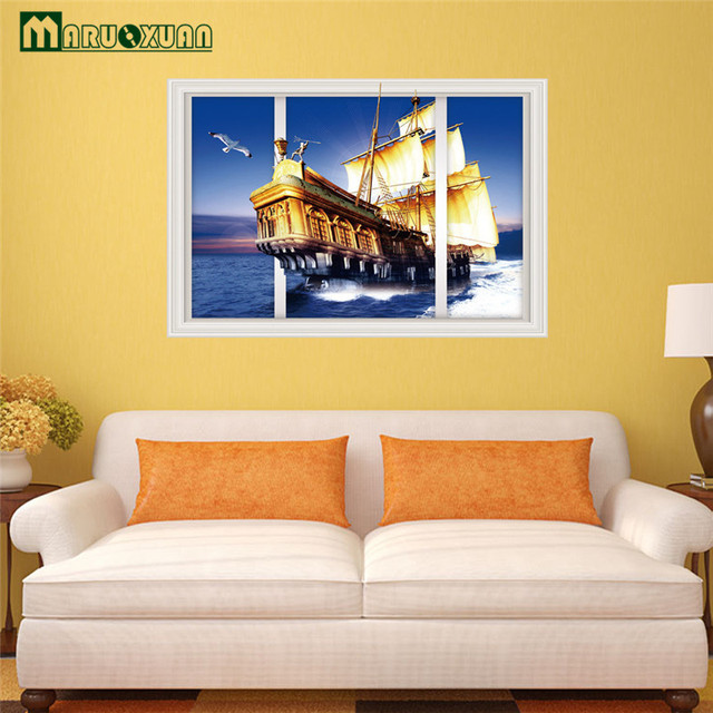 Maruoxuan Sailing Boat On The Sea 3d Wall Art Removable Wall Sticker ...